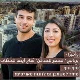זוג צעיר ערבי על רקע בנייני מחיר למשתכן