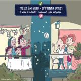 משפחה ערבית חוגגת רמדאן ומשפחה יהודית מברכת.